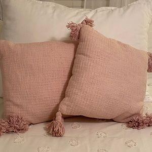Set of Two Blush Textured Throw Pillows
